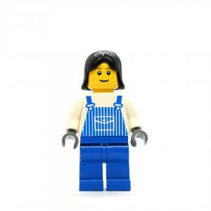 Female in blue overalls